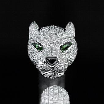 Cartier, Panther Head, Diamond, Bracelet