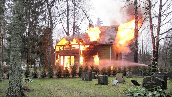 Fire, House Burns, Cemetery, Tombstone, House Fire