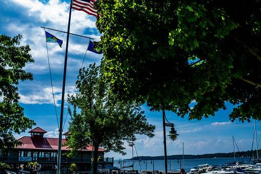 Lake Champlain, Lake, Champlain, Flags, Boats, Jetty