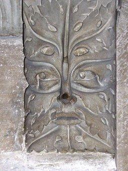Green Man, Sheet Mask, Decorative Element, Sculpture