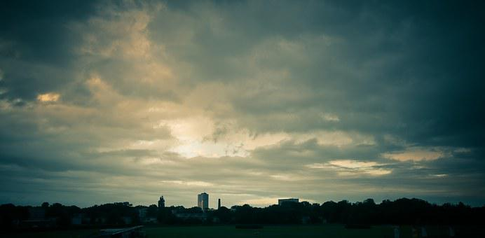 Sky, City, Clouds, View, Dramatic, Urban, Silhouette