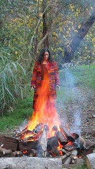 Woman, Fire, Flames, Sacred Fire, Fire Spirit