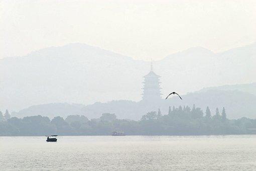 China, Hangzhou, Boot, Mountains, Landscape, River, Fog