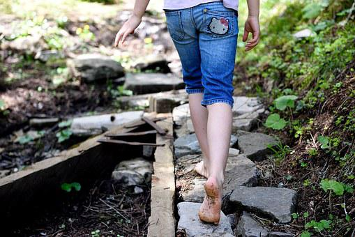 Away, Nature Trail, Forest Path, Trail, Feet, Stones