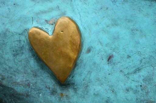 Heart, Golden Heart, Background, Metal, Blue, Gold