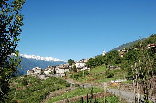 Tirano, Italy, Landscape, Scenic, Mountains, Sky