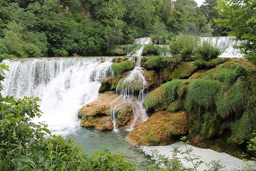 Waterfall, Nature, Bach, Water, Croatia, Lakes, Fish