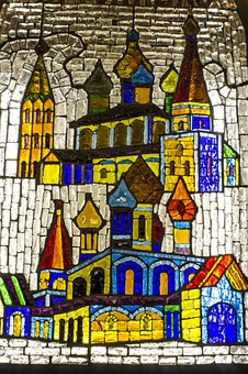 Stained-glass Window, Metro, Moscow, Mosaic, Color