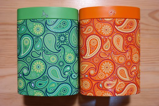 Tea Tins, Cans, Colorful, Color, Green, Red, Pattern