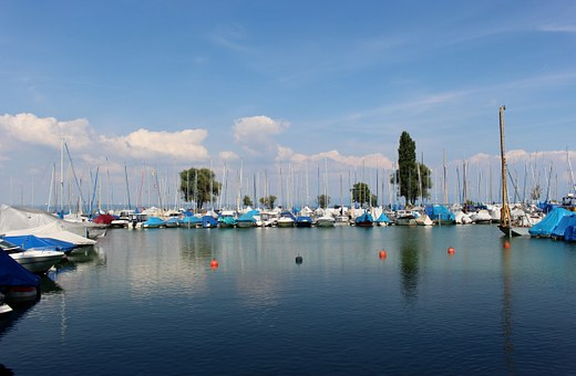Boat Harbour, Ships, Lake Constance, Color, Sky, Clouds