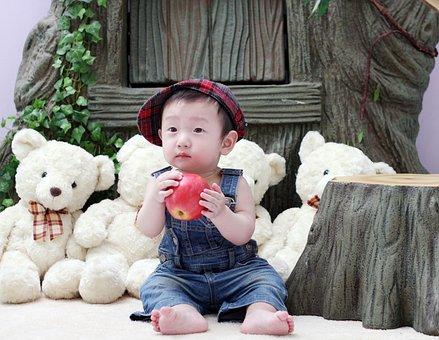 Baby, Boy, Apple, Asian, South Korea's