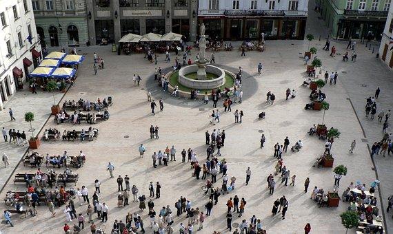 Slovakia, Bratislava, City, Square, People, Croud