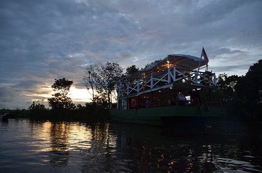Malaysia, Kota Kinabalu, Sunset, Water, River, Lake