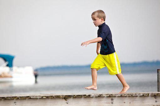 Dock, Young Boy, Running, Child, Boy, Young, Outdoors