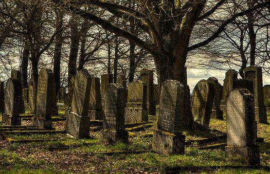 Jewish Cemetery, Cemetery, Silent, Evening Sky