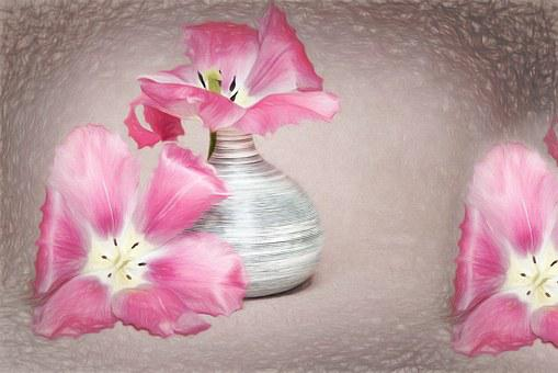 Drawing, Flowers, Tulips, Pink, Petals, Vase, Beautiful