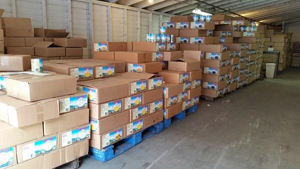 Warehouse, Pallet, Food, Product, Box, Storage, Produce