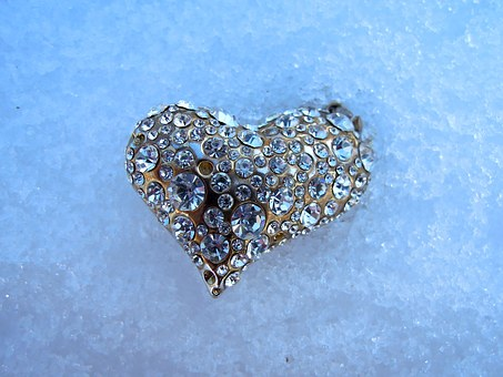 Heart, Jewel, Ice, Snow, Winter, Frost, Diamond