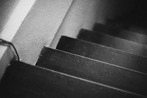 Level, Down, Black And White, Ladder, Leadher