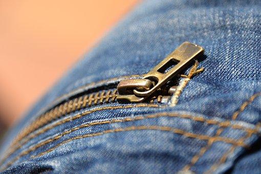 Jeans, Zipper, Pants, Detail, Macro, Bag, Closure