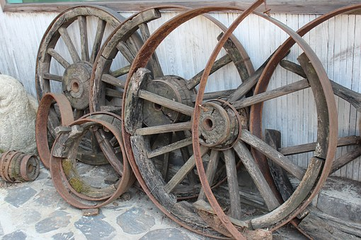 Wagon Wheel, Things, Background, Old, Ooden