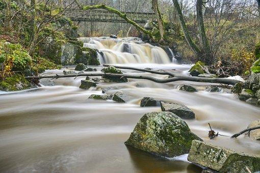 Waterfalls, River, Nature, Verkeån, Scania