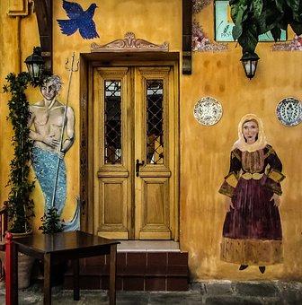 Greece, Skiathos, Shop, Exterior, Traditional, Motif