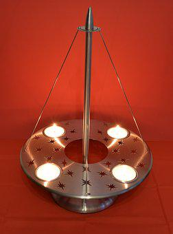 Advent Wreath, Modern, Stainless Steel, Candle