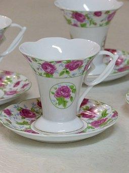 Teacup, China, Table, Floral Motifs, Saucer