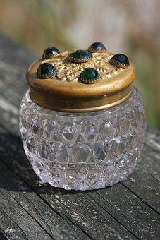 Glass Jar, Jeweled Vintage Jar, Vintage Perfume Jar