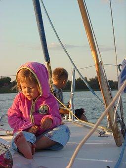 Child, Children, Yacht, Sails, Lake, Thoughtfulness