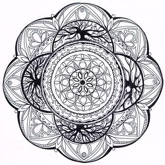 Mandala, Zentangle, 4-seasons, District, Draw, Zirkel