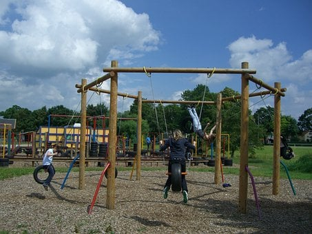 Children's Playground, Langenau, Fun Arena, Tire Swing