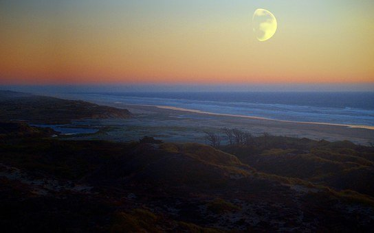 Coast, Beach, Ocean, Sea, Moon, Landscape, Shine