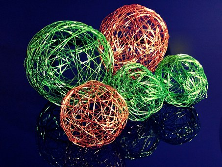 Wire Ball, Wire, Green, Orange, Decoration, Background