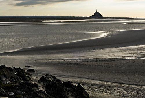 Normandy, Vain, Mont Saint Michel, Beach, Evening