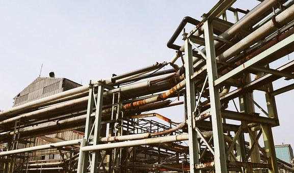 Factory, Ladder Climbing, Exhaust Fumes, Old, Rusty