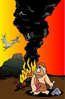 Stone Age, Club, Fire, Volcano, Dinosaur, Kids, Poster