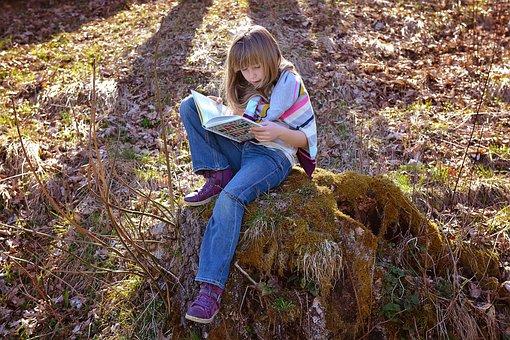 Human, Child, Girl, Blond, Long Hair, Book, Read