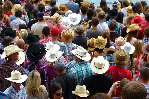 Crowd, Heads, Hats, Calgary, Stampede, Canada, Stetson