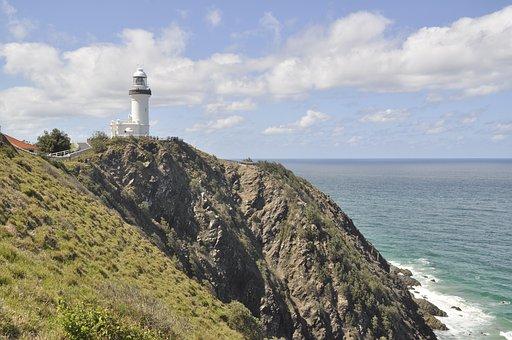 Lighthouse, Coast, Australia, Byron Bay, Booked