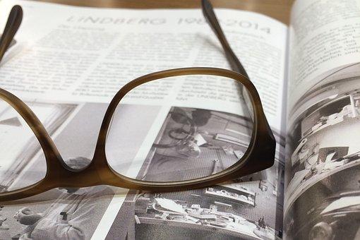 Glasses, Magazine, Book, Read, Text, Media, Open Book
