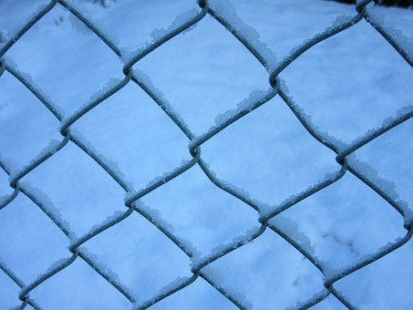 Wire Mesh, Fence, Snow Crystals, New Zealand, Winter