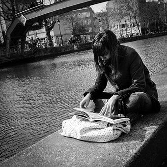 Paris, Street, Woman, Canal Saint-martin, Book, Relax