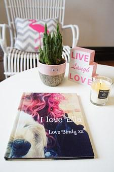 Photo Book, Chair, Cushion, Plant, Candle, Quote