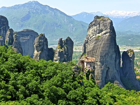 Meteora, Rocky, Mountain, Prominent, Feature, Greece