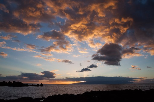 Bay, Sea, Abendstimmung, Sun, Clouds, Island, Mainland