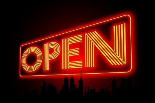 Open, Neon, Note, Entry, Shining, Neon Light