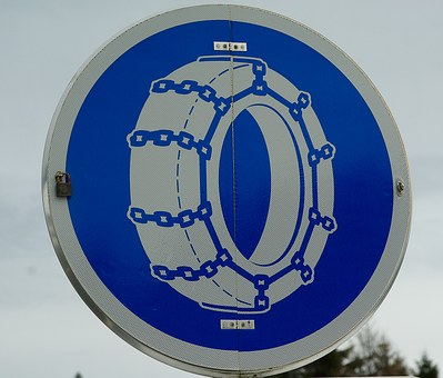 Panel, Snow, Tires, Chains, Road Sign