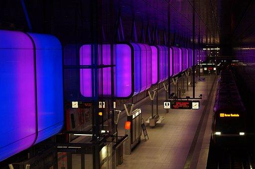Harbour City, Hamburg, City, Ubahn, Lights Game, Light
